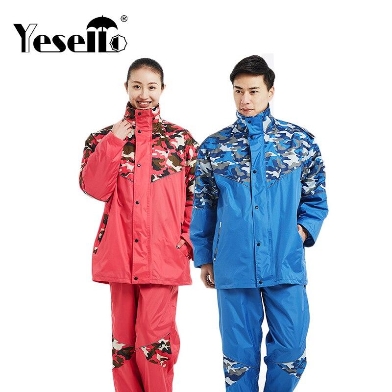 Yesello Camouflage Raincoat Set Impermeable Rain Jacket Poncho Extra Large S 4XL Highing Rainwear For Rain