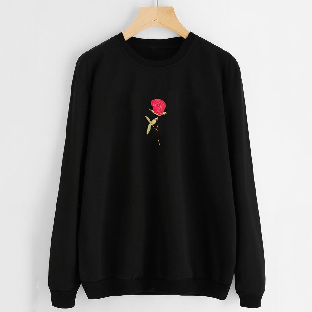 Fashion Women Embroidery Rose Hoodie Sweatshirt Spring Winter Ladies Crewneck Long Sleeve Casual Black Pullovers Tops Hoodie #JO