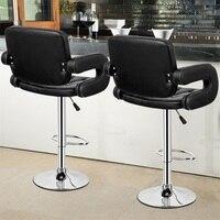 2 Set PU Leather Swivel Bar Stools Adjustable Pub Chair High Quality Bar Stools Modern Bar Chairs HW55501BK