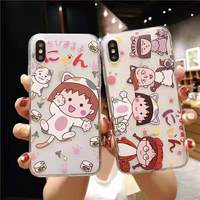 Silicone Cute Cartoon Chibi Maruko TPU Phone Case For iPhone XS MAX XR iX 8 Plus 7 Plus 6 6s 6 Plus Case Back Cover Fundas Coque