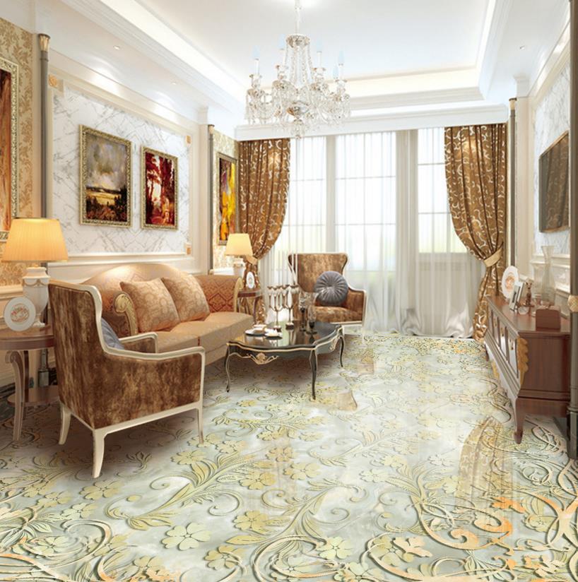 ФОТО Modern 3d floor embossed marble custom fresh 3d floor marble tiles pattern pvc waterproof self-adhesive plastic floor