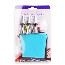 Hot Selling Silicone Icing Piping Cream Pastry Bag +6 Stainless Steel Nozzle Set DIY Cake Decorating Tips Set tools