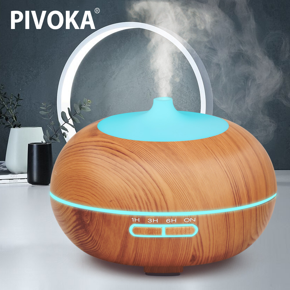 PIVOKA 400ML Aroma Diffuser Air Ultrasonic Humidifier Essentiel Oil Aromaterapia LED Lights Mist Maker Humificador for Home 024 цена