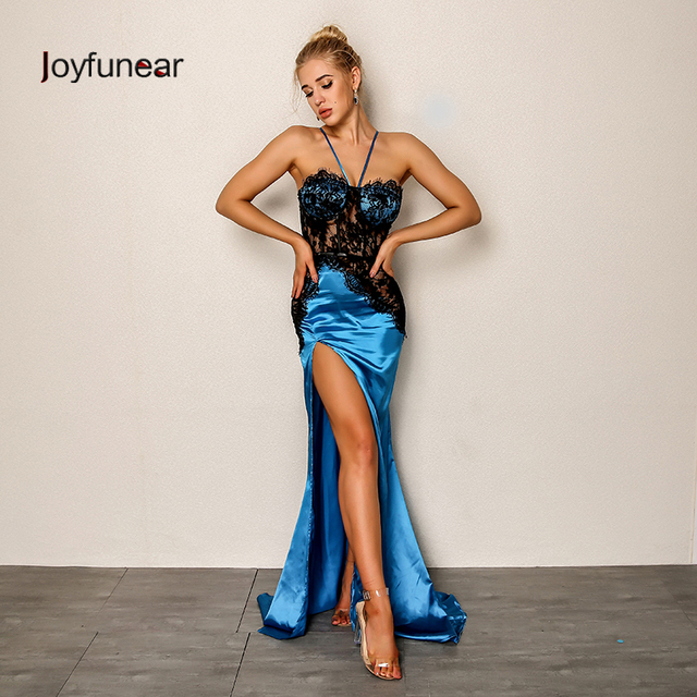 4b4b4d6daf51f US $25.79 35% OFF|Joyfunear 2018 New Women Sexy Party Dress Summer Bodycon  Side Split Maxi Dress Floral Embroid Elegant Long Dresses Vestido Blue-in  ...