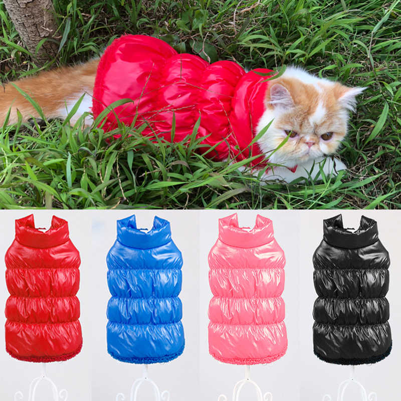 Autumn Winter Clothes For Small Cats Dogs Thicken Warm Fleece Kitten Kitty Vest Jacket Waterproof Cat Coat Pet Clothing Overalls