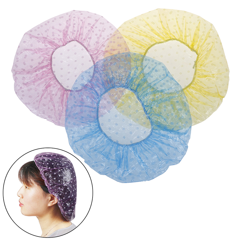 6Pcs Disposable Shower Hat Hotel/Hair Salon/Home One-Off Elastic Large Elastic Bathing Cap Women Spa Bathing Accessory