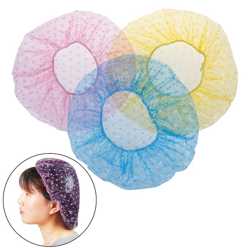 6Pcs Disposable Shower Hat Hotel/Hair Salon/Home One-Off Elastic Large Elastic Bathing Cap Women Spa Bathing Accessory
