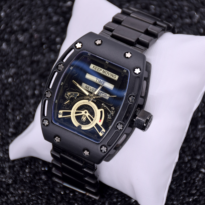 Fotina New Richard Style Clock Mens Watches Top Brand Luxury Steel Wristwatch Sport Cool Black Watch Date Hours erkek kol saati new 2014 cool wrc sport style car whole