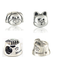 High Quality 925 Sterling Silver Cute Cat & Dog Food & Beads DIY Jewelry Fit Silver Charm Bracelets for Women & Men