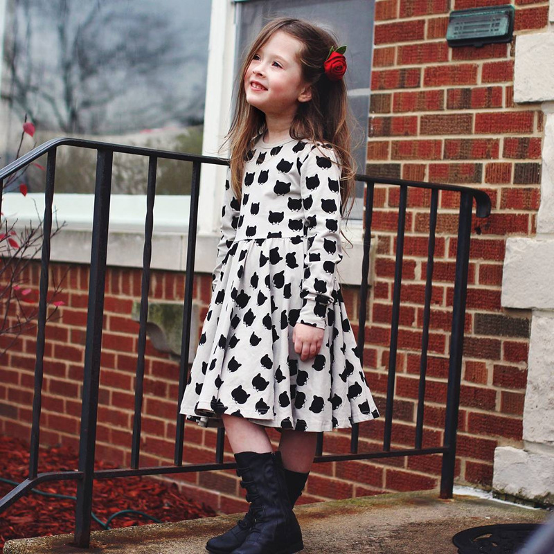 2018 Spring New Girls Dress Long Sleeve Cotton Kids Dresses for Girls Cat Printed Casual Children Clothing Toddler Girls Clothes 2018 new cotton printed rose dresses