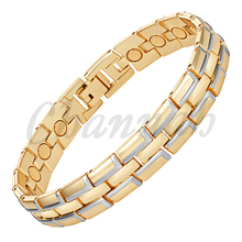 Channah 2017 Hommes 2-Tone Argent Brillant Or 19 pcs Aimants Magnétique Bio Bracelet Bracelet Bijoux Mâle Cadeau Bracelet Charme