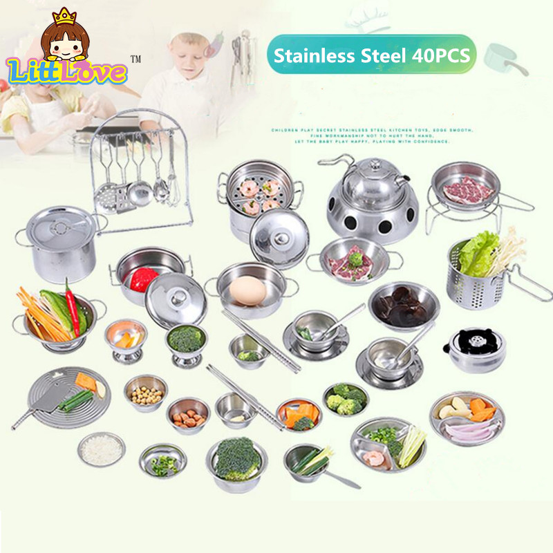 40pcs Stainless Steel Children Kitchen Toys Miniature Cooking Set Simulation Tableware Toy Pretend Play Cook Toy For Kids Gift Kitchen Toys Aliexpress