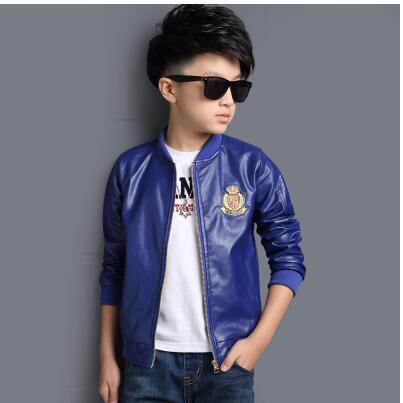 Fashion PU Leather Jackets Boys Coats Autumn Bomber Jackets For ...