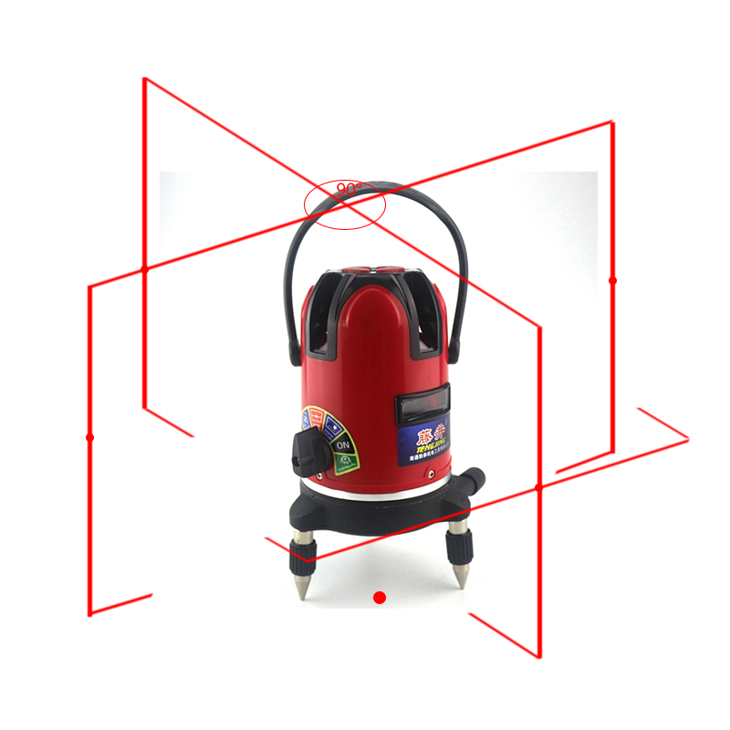 Automatic Laser Level Self-leveling 360 Degree 5 Red Lines 6 Poins 532nm Rotary Outdoor Horizon Vertical Measure Tripod цена
