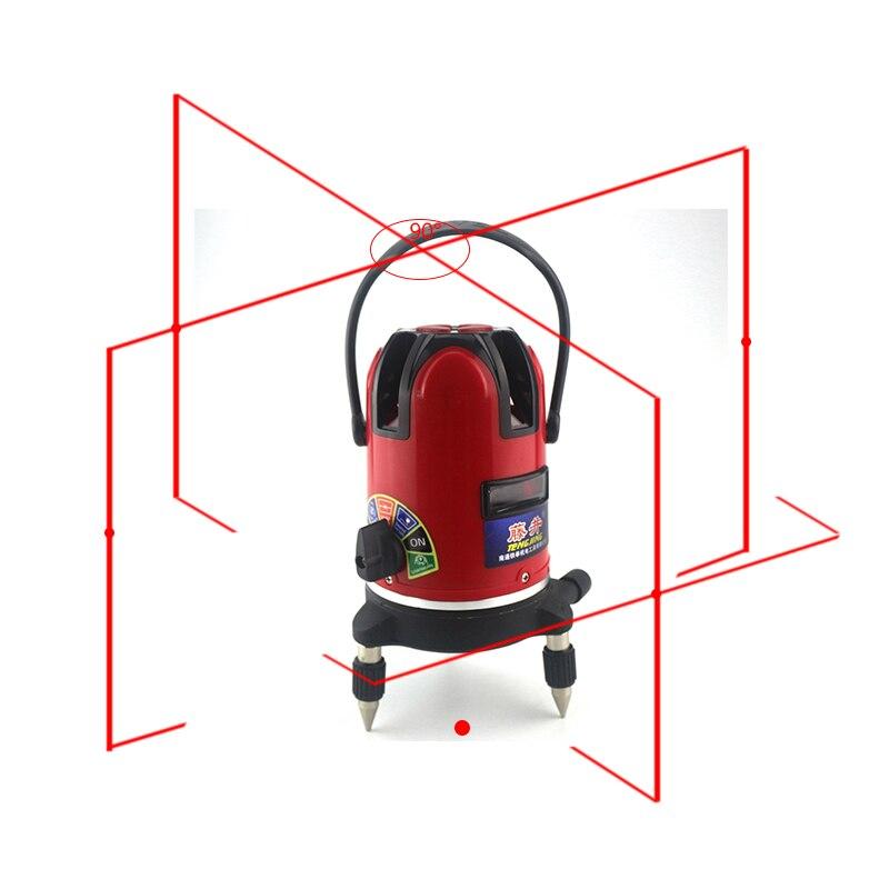 Automatic Laser Livello Self-leveling 360 Gradi 5 Linee Rosse 6 Poins 532nm Rotante Outdoor Vertical Horizon Misura di Treppiede