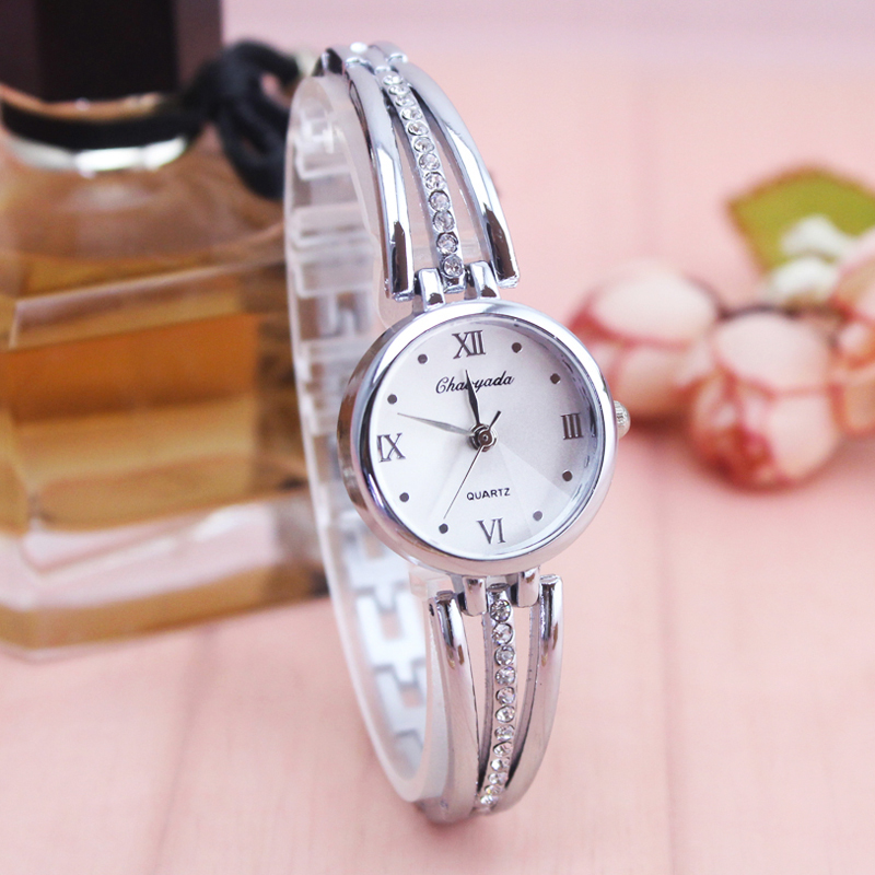 2018 luxury fashion ultra thin women gold silver watches whit diamond Roman char