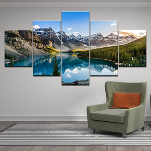 HD Print Paintings Canvas Home Decor Moraine Lake Sunset Mountain Clouds Forest River Nature Landscape Posters Wall Art Pictures
