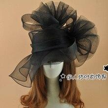 Супер большая черная шляпа-Вуалетка с цветами, модная женская заколка, вечерние аксессуары для волос