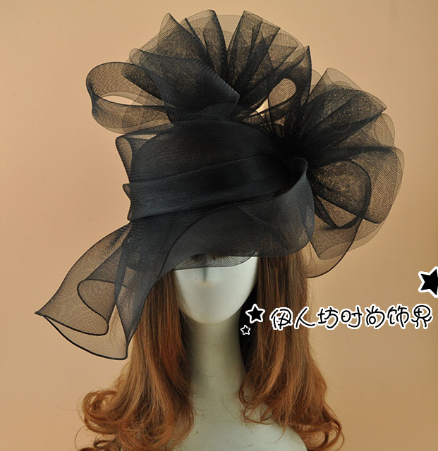 Super BIg Black Net Flower Fascinator Hat Hairpin Fashion WOmen Fancy Шоу Коктейль Party Mesh Шаш Аксессуарлар Wedding Hat