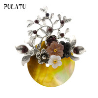 Pulatu Natural Shell Flower Brooches Women Fashion Accessories Handmade Flower Stone Brooch Pins Cute Jewelry New Year Gifts