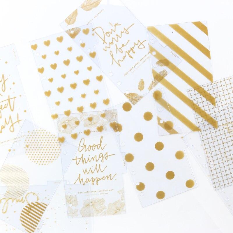 Domikee 2019 New Cute Gold Foil Transparent PVC 6 Holes