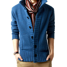 M Autumn Mens Sweater Casual Button Stand Collar Long Sleeve Cotton Knit Cardigan Slim Fit Multicolor