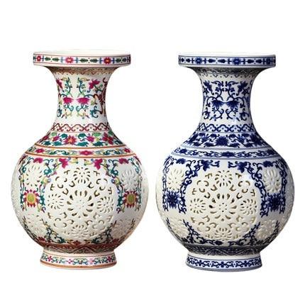 Antique Jingdezhen Ceramic Chinese Pierced Vase Wedding Gifts Home Handicraft Furnishing Articles