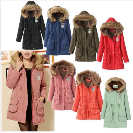 Free Shipping Women Parkas Coats Autumn Warm Winter Jackets Women Fur Collar Long Parka Plus Size Hoodies Casual Cotton Outwear