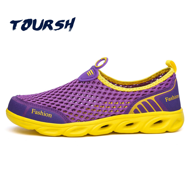 TOURSH 2018 New Summer Women Shoes Light Sneakers Breathable Footwear Mesh Slip-On Female Outdoor Casual Flats Tenis Feminino casual women sandals 2017 summer shoes mixed color mesh breathable garden shoes outdoor mules