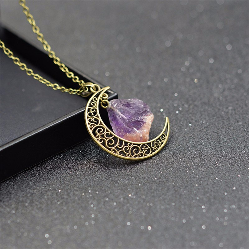 HTB1rAzfKXXXXXaJXpXXq6xXFXXXb - New Fashion Moon Vintage Irregular Natural Stone Pendant Necklaces Necklace Multi Spar Quartz Crystals Jewelry