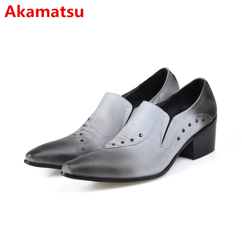 Akamatsu zapatos hombre mens shoes high heels pointed toe dress shoes rivets slip on wedding loafers italian leather shoes men shoes men black dress shoes genuine leather pointed toe metalic slip on business men shoes for wedding party zapatos hombre xxz5