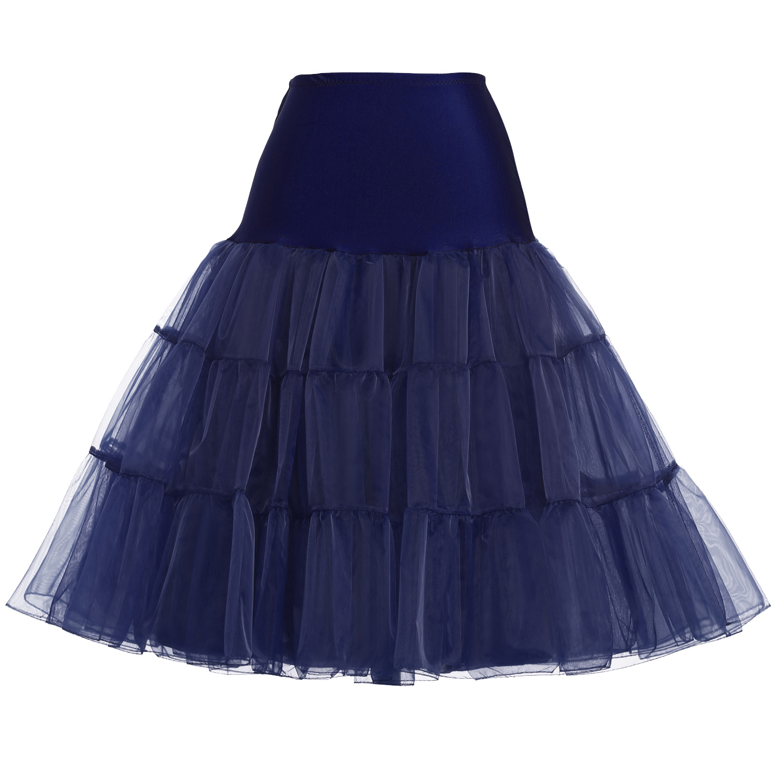 Lady Floral Mesh Lace Midi Pleated Skirt Tulle A-Line Swing Underskirt Petticoat