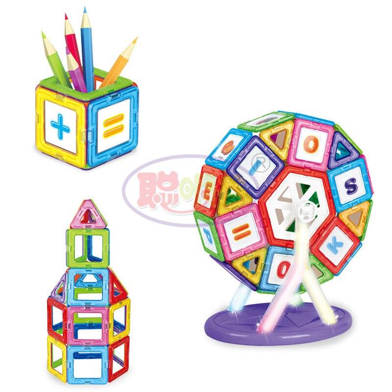 CongMingGu 21Pcs/38Pcs standard size magnetic building blocks Model Building Toys Brick designer Enlighten Bricks magnetic toys 4