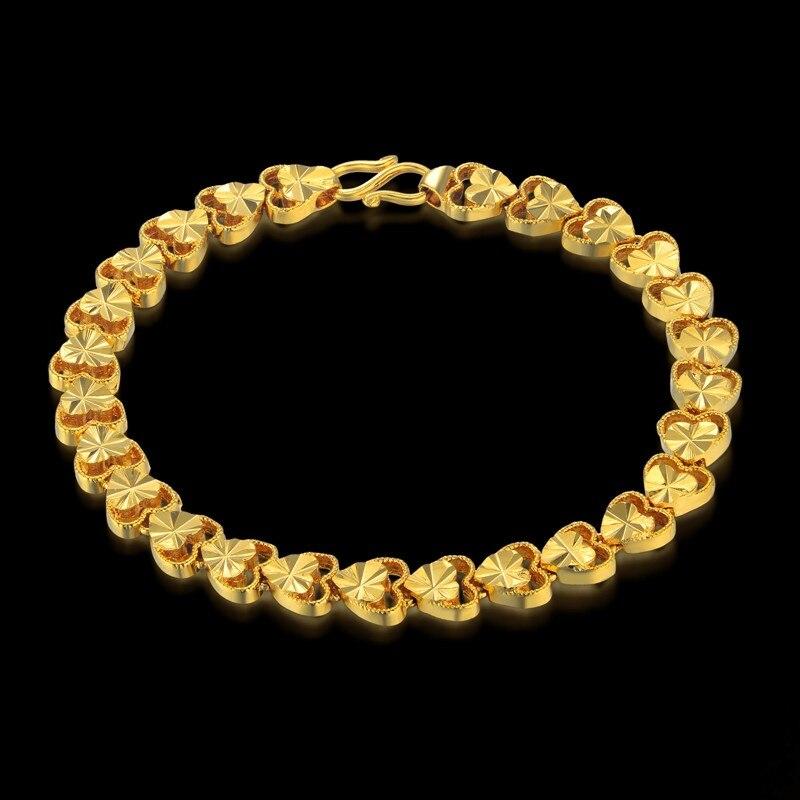 Bracelet Women Jewelry Wholesale Bracelt 2017 Female 19cm Gold Color Heart Charm Bracelets & Bangles Braslet