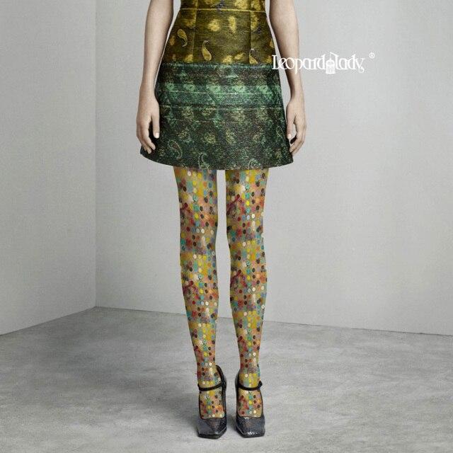 Women Print Top Fashion Tights Collant Medias Pantis Woman Winter 2016 New Polka Color Printing Design Comfortable Pantyhose