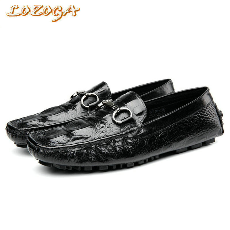 2017 Mens Casual Shoes Genuine Leather Black Loafers Handmade Shoes High Quality Alligator Boat Shoes Peas