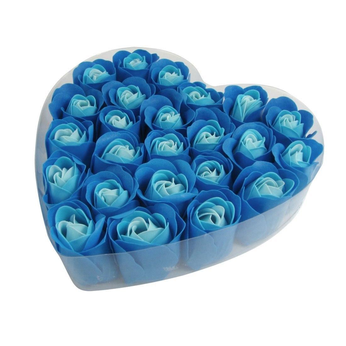 24 Pcs Blue Scented Bath Soap Rose Petal In Heart Box