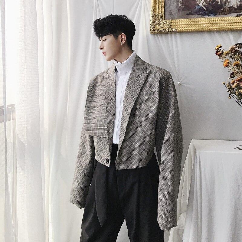 Männlichen Street Hip Hop Anzug Mantel Männer Vintage Mode Beiläufige Lose Plaid Kurze Jacke-in Jacken aus Herrenbekleidung bei  Gruppe 1