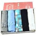 5 Pçs/lote Calcinha lingerie 100% algodão grosso cintura baixa butt-lifting cuecas mulheres underwear caixa de presente das mulheres