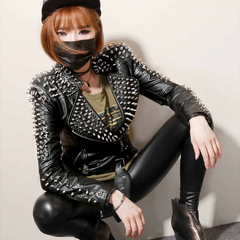 European Lady Personality Fashion Punk Style Rivet Jacket Motorcycle Leather Short Jacket Female Rock Jackets StreetWear Clothes