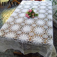 IBANO Cotton Tablecloth Handmade Crocheted Table cloth Lace Flower Shape Coasters Home Coffee Table Decoration Crafts