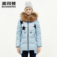 bosideng winter jacket women's clothing duck down coat big natural fur collar luxury hoodie star long coat B1501156
