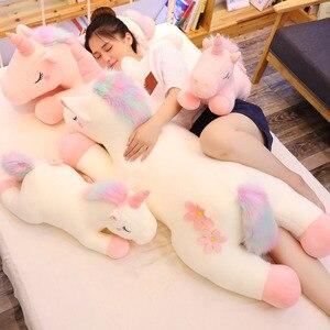 25-100 см Большой размер, каваи, единорог, плюшевые игрушки, в виде животных, единорог, лошадка с куклой, мягкий, дети, домашний декор, подарки, по...