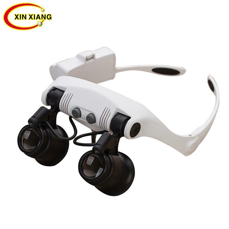 Headband Replaceable Glasses Magnifier 10X15X 20X 25X Watchmaker Repair Tool Magnifying Glass LED Illuminated Magnifier Loupe окуляр для зрительных труб nikon prostaff 5 20x 25x