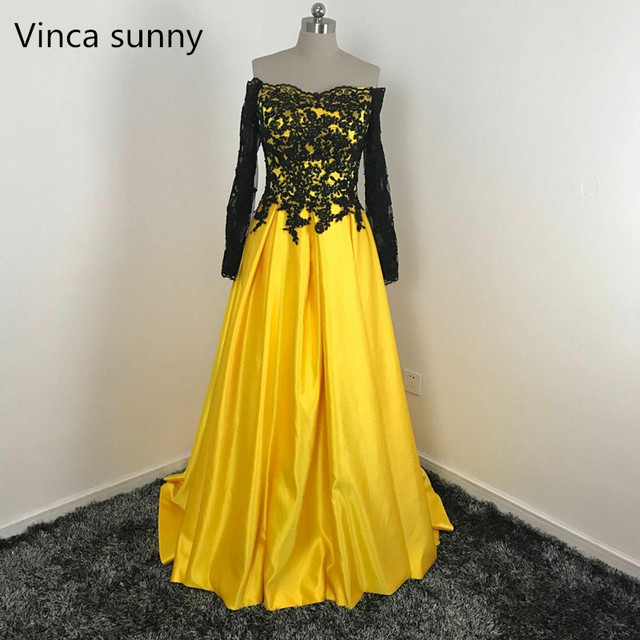 Yellow Evening Dresses Black Lace Applique Long Sleeves Off Shoulder ...