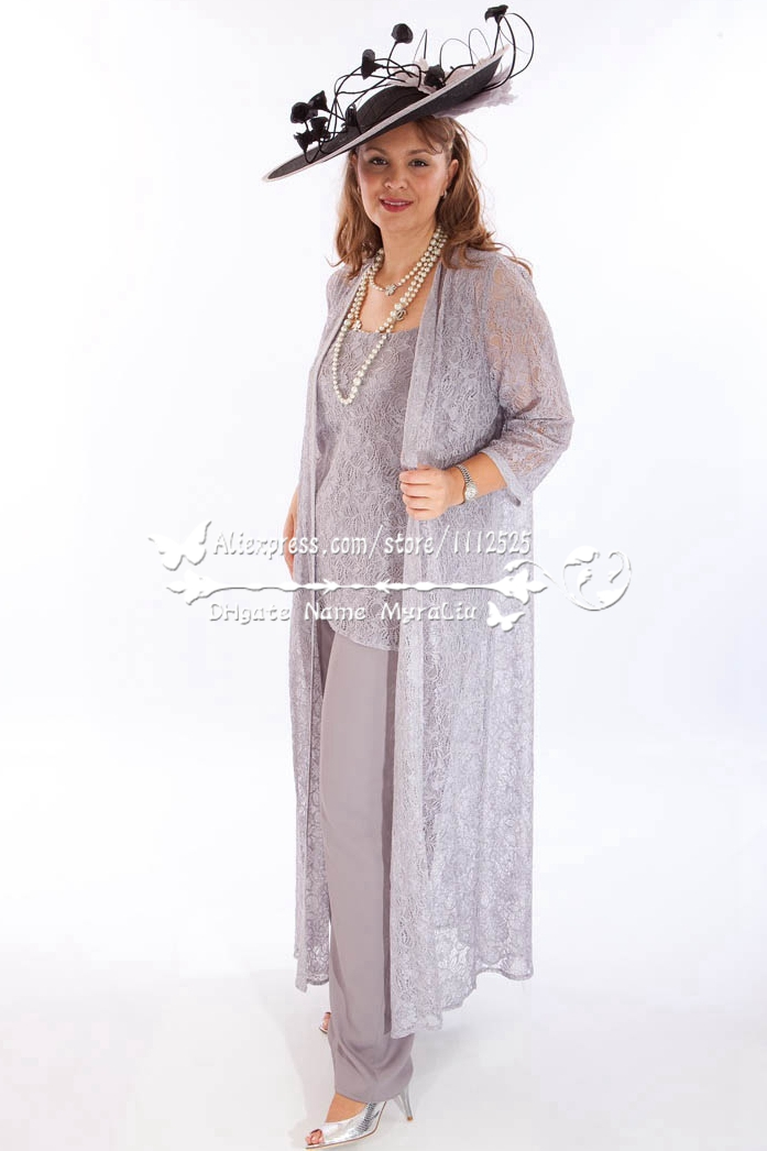 AMP 1223 Elegant Grey Lace 3PC Outfit Wedding Trousers Set Mother Of Bride Pant Suits With Long Coat In The Dresses From Weddings Events