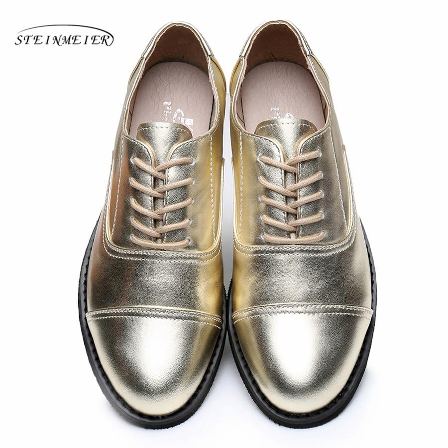 Genuine leather big woman size 10 designer vintage shoes round toe handmade golden 2019 oxford shoes