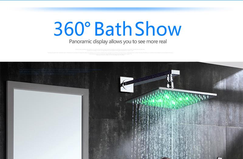 DCAN 10 Rainfall Shower Head System Polished Chrome Bath Wall Mounted Shower Faucet Bathroom Luxury Rain Mixer Shower Combo Set (27)