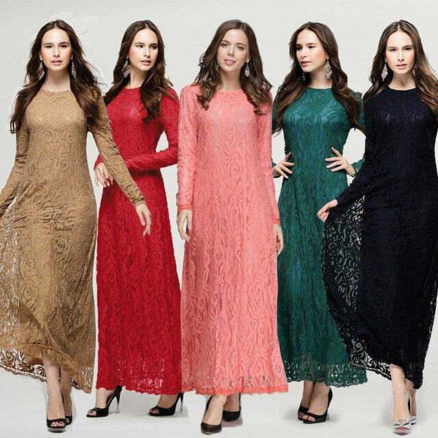 2017 middle east clothing kaftan abaya jilbab islamic muslim dress 2017 middle east clothing kaftan abaya jilbab islamic muslim dress women long sleeve lace vintage maxi sciox Images