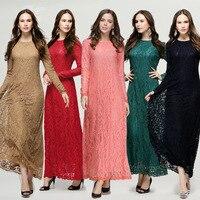 2017 Middle East Clothing Kaftan Abaya Jilbab Islamic Muslim Dress Women Long Sleeve Lace Vintage Maxi